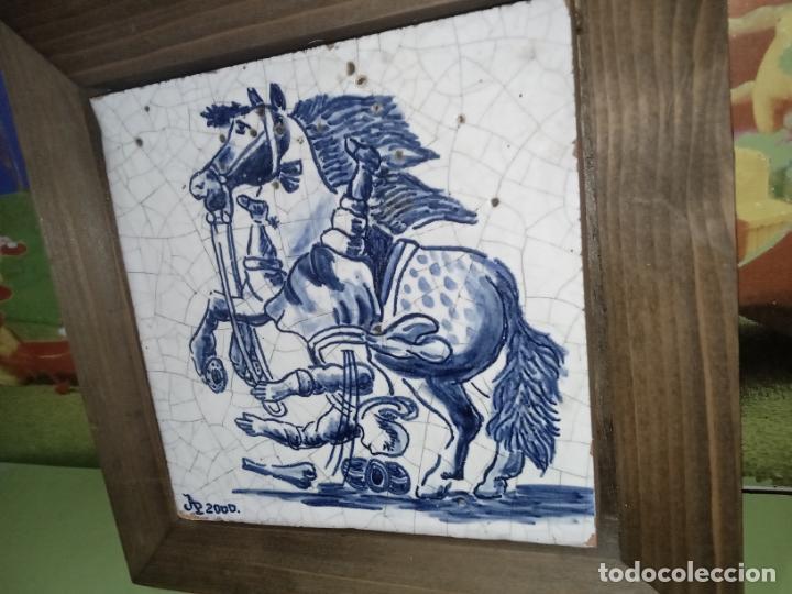 Antigüedades: AZULEJO BALDOSA ENMARCADA caballo - Foto 7 - 236732985