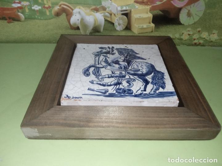 Antigüedades: AZULEJO BALDOSA ENMARCADA caballo - Foto 8 - 236732985