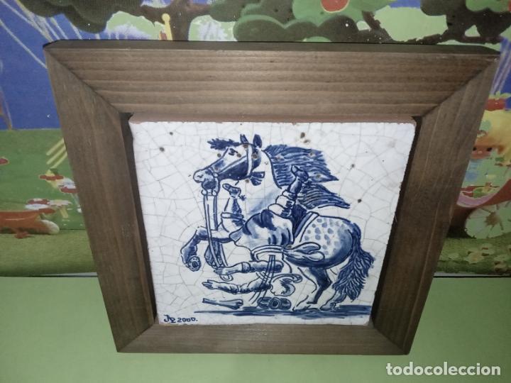 AZULEJO BALDOSA ENMARCADA CABALLO (Antigüedades - Porcelanas y Cerámicas - Azulejos)
