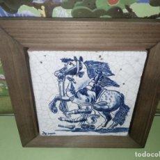 Antigüedades: AZULEJO BALDOSA ENMARCADA CABALLO. Lote 236732985