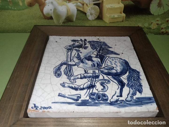 Antigüedades: AZULEJO BALDOSA ENMARCADA caballo - Foto 9 - 236732985