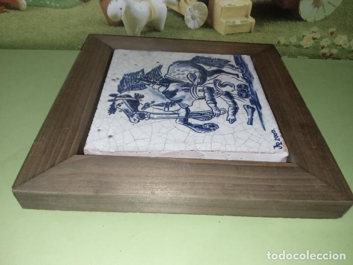 Antigüedades: AZULEJO BALDOSA ENMARCADA caballo - Foto 10 - 236732985