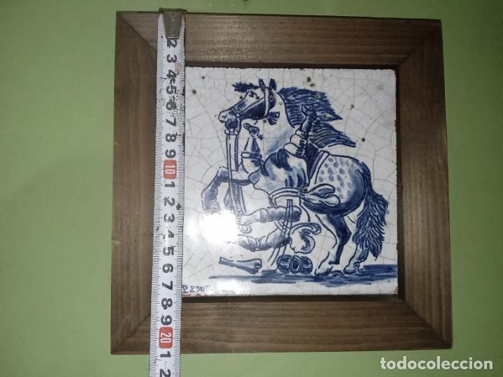 Antigüedades: AZULEJO BALDOSA ENMARCADA caballo - Foto 13 - 236732985