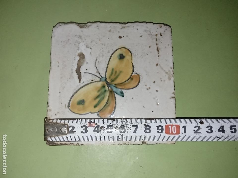 Antigüedades: AZULEJO BALDOSA mariposa vintage - Foto 7 - 236733445