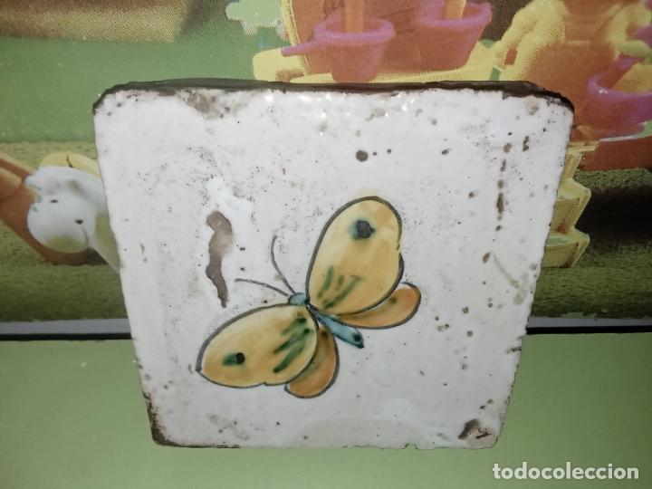 AZULEJO BALDOSA MARIPOSA VINTAGE (Antigüedades - Porcelanas y Cerámicas - Azulejos)