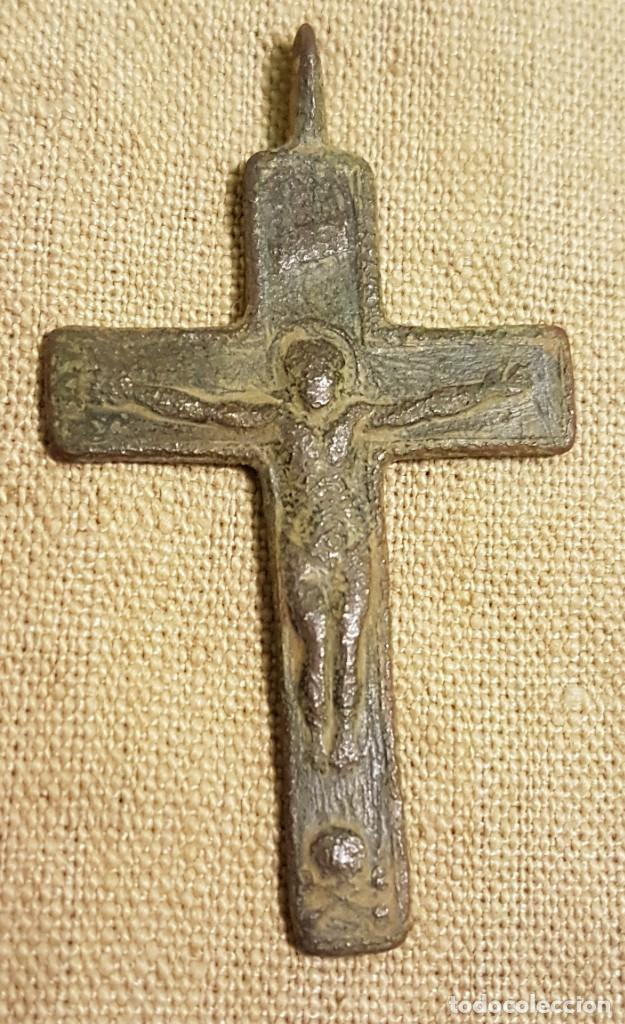 ANTIGUA CRUZ BRONCE CRISTO Y VIRGEN (Antigüedades - Religiosas - Cruces Antiguas)