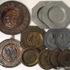 Antigüedades: LOTE DE 11 PLATOS DE COBRE, LATON, PELTRE VARIAS MEDIDAS 37 CM EL MAYOR. Lote 236769350