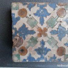 Antigüedades: AZULEJO DE ARISTA PPIOS SIGLO XVI, ALFAR DE MUEL ZARAGOZA 13 X 13. RARO MOTIVO. Lote 236783205