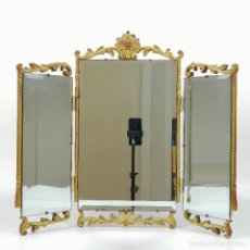 Antigüedades: VERY ANTIQUE PLASTERED CHALK TRYPTIC MIRROR. Lote 236812565