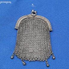 Antigüedades: ANTIGUO MONEDERO DE MAYA PLATA CON DOBLE COMPARTIMENTO * PERFECTO *. Lote 236897610