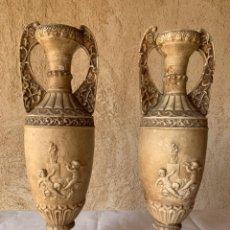 Antigüedades: PAREJA DE JARRONES ANTIGUOS DE ESTUCO . VIRGEN DEL PILAR . CERAMICA ARAGONESA . ZARAGOZA .. Lote 236911930
