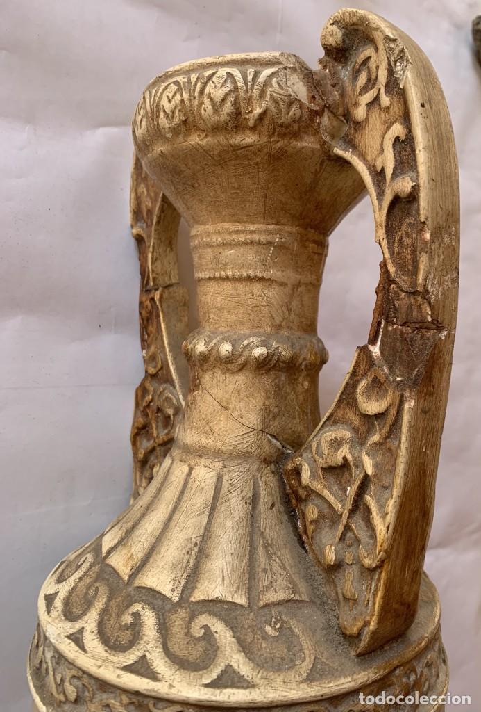 Antigüedades: PAREJA DE JARRONES ANTIGUOS DE ESTUCO . VIRGEN DEL PILAR . CERAMICA ARAGONESA . ZARAGOZA . - Foto 19 - 236911930
