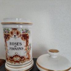"Antigüedades: ANTIGUO ALBARELO O TARRO DE FARMACIA FRANCES EN PORCELANA OPACA DE SERREGUEMINES, ""ROSES DE PROVINS"". Lote 236922970"