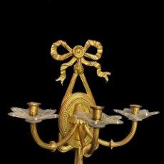 Antigüedades: ANTIGUA PAREJA DE CANDELABROS, APLIQUES, DORADOS AL MERCURIO. NAPOLEÓN III.CASINO MERCANTIL ZARAGOZA. Lote 236926245
