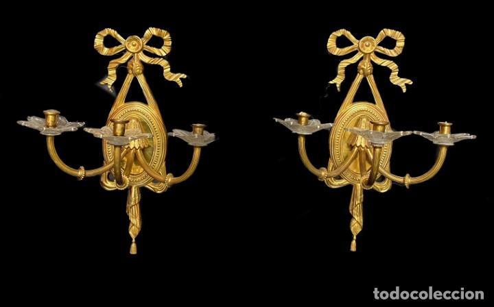 Antigüedades: Antigua pareja de candelabros, apliques, dorados al mercurio. Napoleón III.Casino mercantil Zaragoza - Foto 2 - 236926245