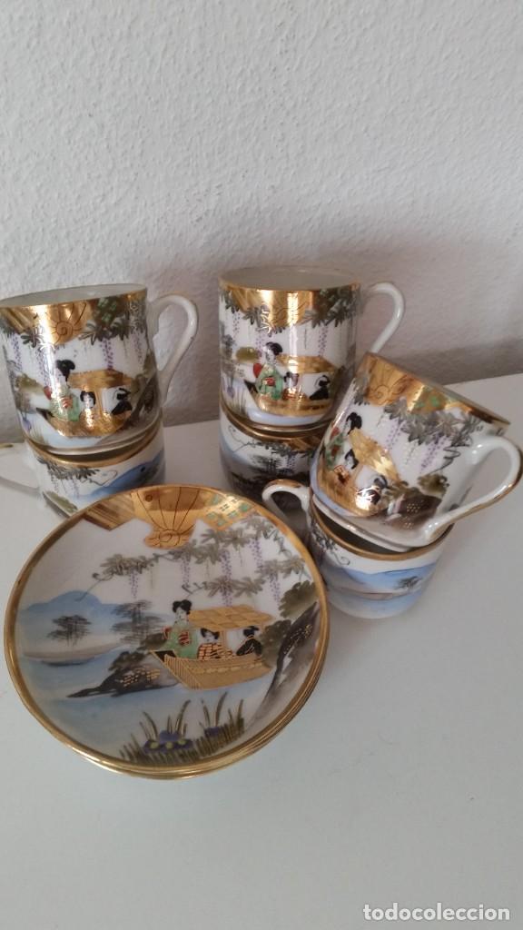 MAGNIFICO JUEGO DE CAFE PORCELANA MUY FINA MAD CHINA HECHO Y PINTADO A MANO POLVO ORO 18K (Antigüedades - Porcelanas y Cerámicas - China)