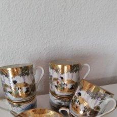 Antigüedades: MAGNIFICO JUEGO DE CAFE PORCELANA MUY FINA MAD CHINA HECHO Y PINTADO A MANO POLVO ORO 18K. Lote 236929695