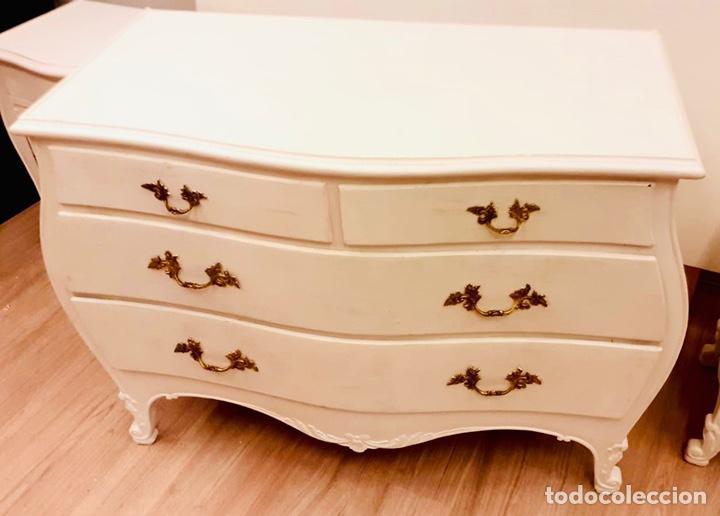 Antigüedades: Dormitorio de madera de cerezo pintado en blanco - Foto 4 - 236931515