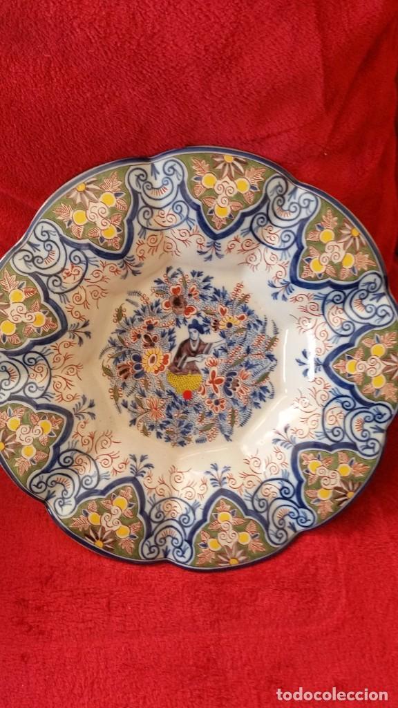 Antigüedades: GRANDE PLATO DE COLECION Y DECORACION PORCELANA M. CHINA HECHA A PINTURA EN RELIEVO - Foto 7 - 236947655
