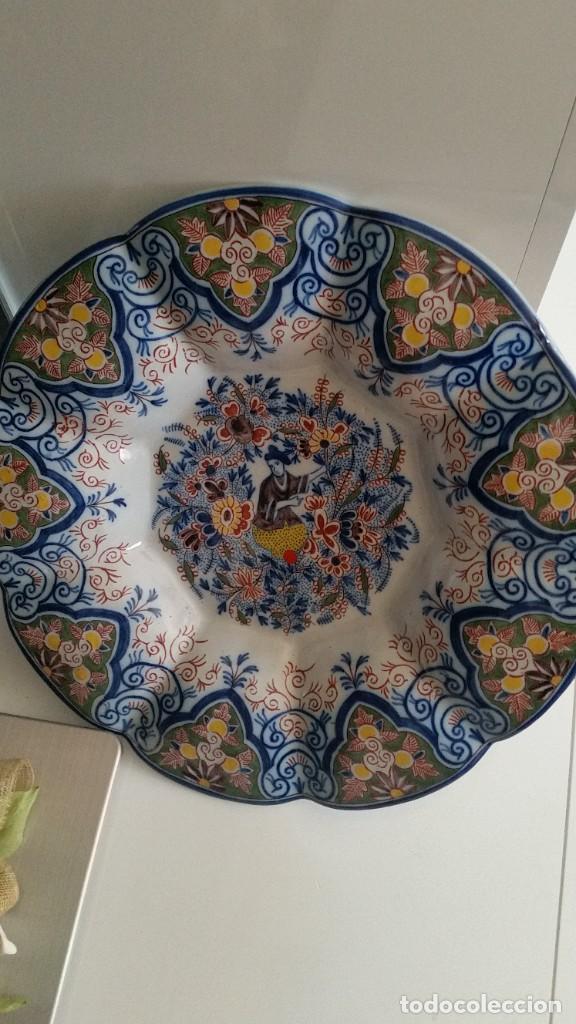 Antigüedades: GRANDE PLATO DE COLECION Y DECORACION PORCELANA M. CHINA HECHA A PINTURA EN RELIEVO - Foto 10 - 236947655