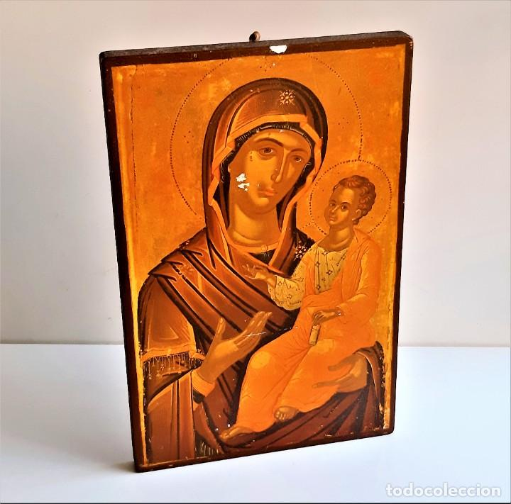 RETABLO RELIGIOSO MADERA - 22 X 34.CM (Antigüedades - Religiosas - Ornamentos Antiguos)
