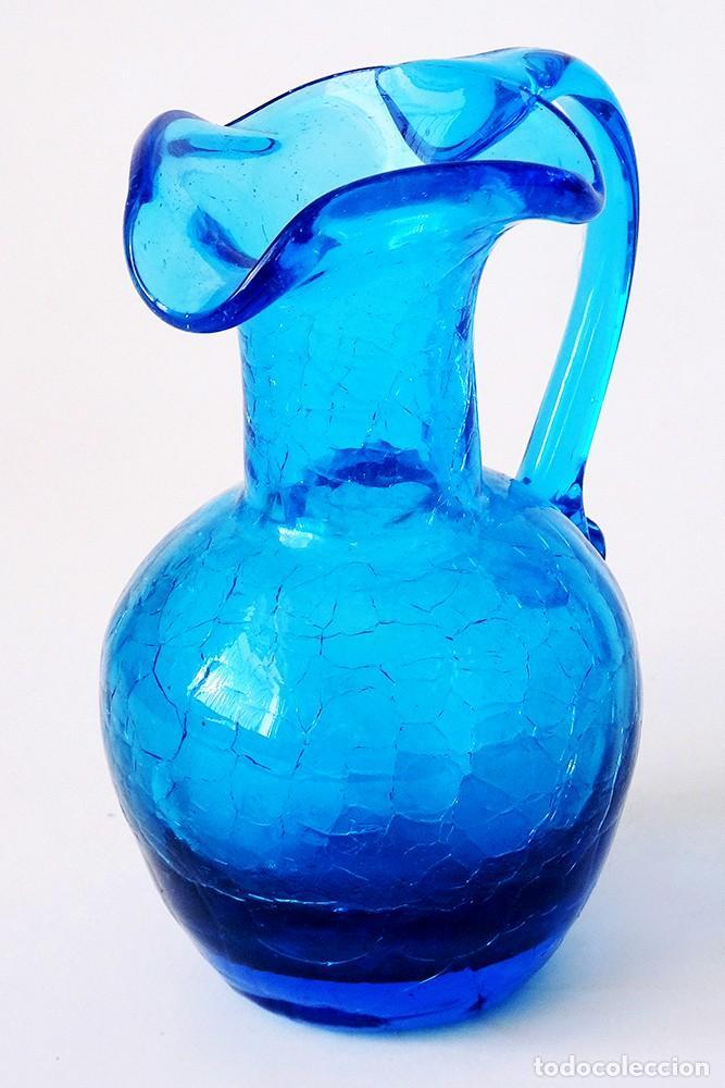 PRECIOSA JARRA JARRITA DE VIDRIO CRAQUELADO CRISTAL DE MURANO AZUL COBALTO VINTAGE AÑOS 50 60 (Antigüedades - Cristal y Vidrio - Murano)