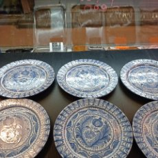 Antigüedades: FAJALALUZA, LOTE DE 6 PLATOS LLANOS PERFECTOS, 28 CM DE DIÁMETRO. Lote 237066850