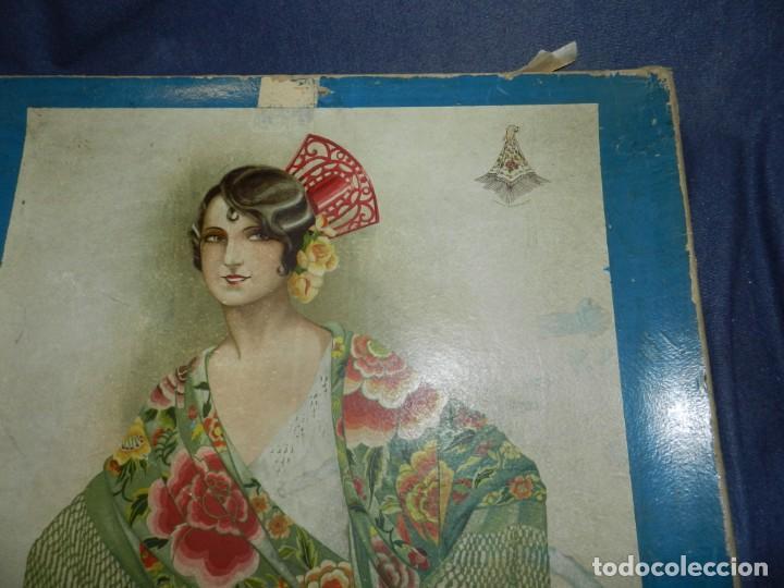 Antigüedades: (M) CAJA ANTIGUA PARA MANTÓN DE MANILA, CAJA DE PRINCIPIOS DEL S.XX, 56X56X4CM - Foto 4 - 237076520