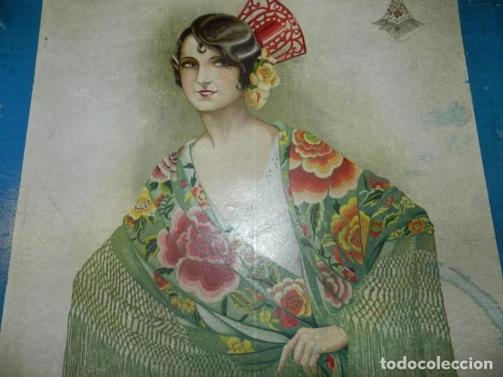 Antigüedades: (M) CAJA ANTIGUA PARA MANTÓN DE MANILA, CAJA DE PRINCIPIOS DEL S.XX, 56X56X4CM - Foto 5 - 237076520
