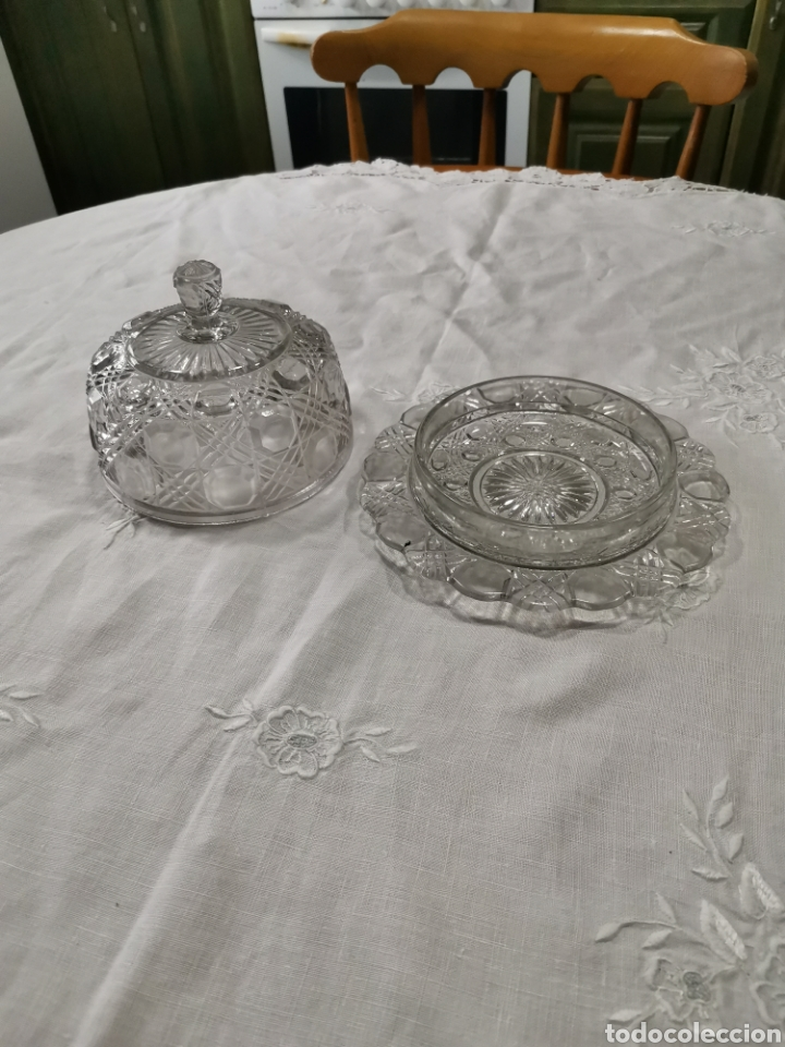 Antigüedades: Mantequillera vidrio prensado cristal de la granja - Foto 2 - 237097050