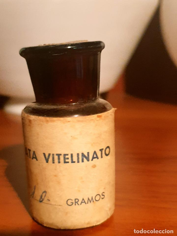 FRASCO ANTIGUO DE FARMACIA ETIQUETA PLATA VITELINATO (Antigüedades - Cristal y Vidrio - Farmacia )