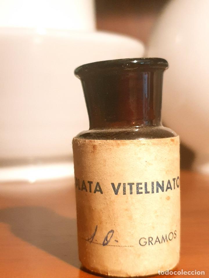 Antigüedades: FRASCO ANTIGUO DE FARMACIA ETIQUETA PLATA VITELINATO - Foto 2 - 237157660