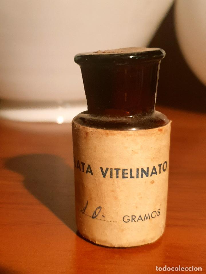 Antigüedades: FRASCO ANTIGUO DE FARMACIA ETIQUETA PLATA VITELINATO - Foto 6 - 237157660