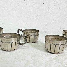 Antigüedades: 5 TAZAS DE ALPACA PLATEADA. Lote 237308430