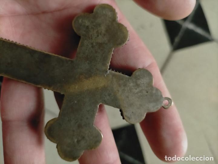 Antigüedades: 10x7 cm gran antigua cruz pectoral micromosaico pecho virgen del pilar desamparados semana santa - Foto 24 - 217695768
