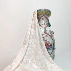 Antigüedades: PRECIOSO MANTÓN DE MANILA EN SEDA COLOR BEIGE. Lote 237384210