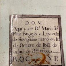 Antigüedades: PLACA FUNERARIA EN CERÁMICA POLICROMA, MUEL? S. XIX. Lote 237555955