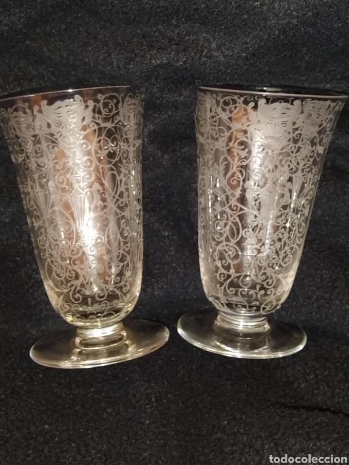 Antigüedades: Importante pareja de copas de cristal de Murano. Sopladas y grabadas. Siglo XVIII-XIX. - Foto 2 - 237579560