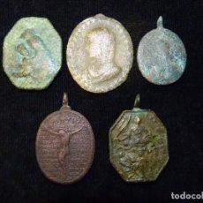Antigüedades: LOTE DE 5 ANTIGUAS MEDALLAS DE GRAN TAMAÑO. S. XVII-XVIII (18). Lote 237626365