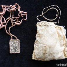 Antigüedades: ANTIGUO ESCAPULARIO DE LA VIRGEN DEL CARMEN, CON BOLSA. S.XIX (34). Lote 237627890