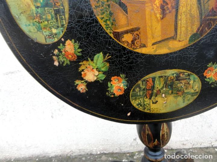 Antigüedades: Velador antiguo isabelino SXIX, la tapa es abatible, til-top, tematica oriental - Foto 5 - 237682535