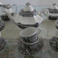 Antigüedades: JUEGO DE CAFÉ CARTUJA PICKMAN NEGRO DIBUJOS CHINESCOS + TAZAS CAFÉ PONTESA MOTIVOS INGLESES. AÑOS 60. Lote 237732460