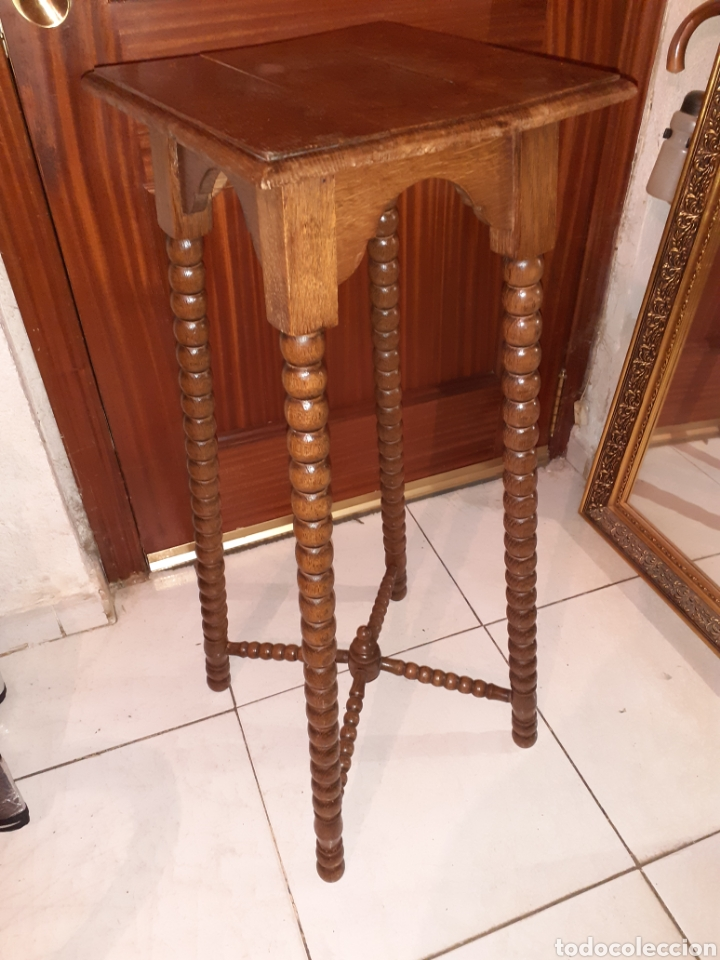 Antigüedades: Macetero de madera 32x32x87 cm .. - Foto 2 - 237737300