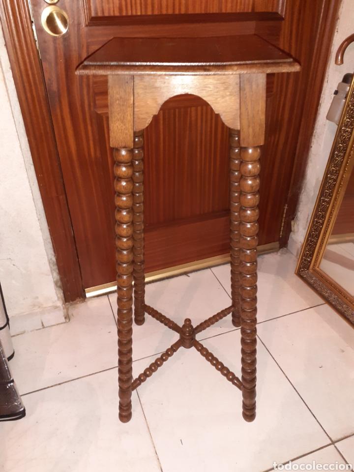MACETERO DE MADERA 32X32X87 CM .. (Antigüedades - Hogar y Decoración - Maceteros Antiguos)