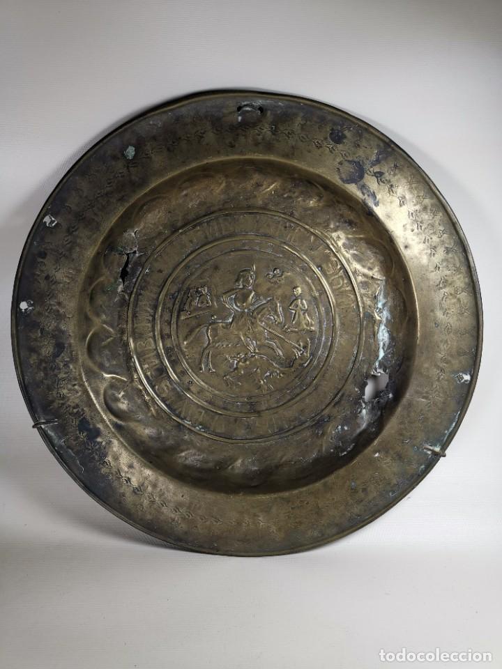 Antigüedades: ORIGINAL PLATO PETITORIO LIMOSNERO NUREMBERG SIGLO XVI--SAN JORGE---SANT JORDI - Foto 2 - 237740995