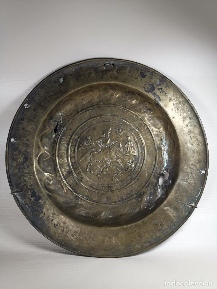Antigüedades: ORIGINAL PLATO PETITORIO LIMOSNERO NUREMBERG SIGLO XVI--SAN JORGE---SANT JORDI - Foto 3 - 237740995