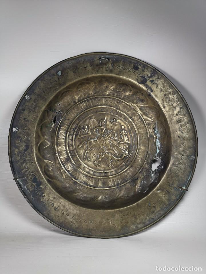 Antigüedades: ORIGINAL PLATO PETITORIO LIMOSNERO NUREMBERG SIGLO XVI--SAN JORGE---SANT JORDI - Foto 4 - 237740995