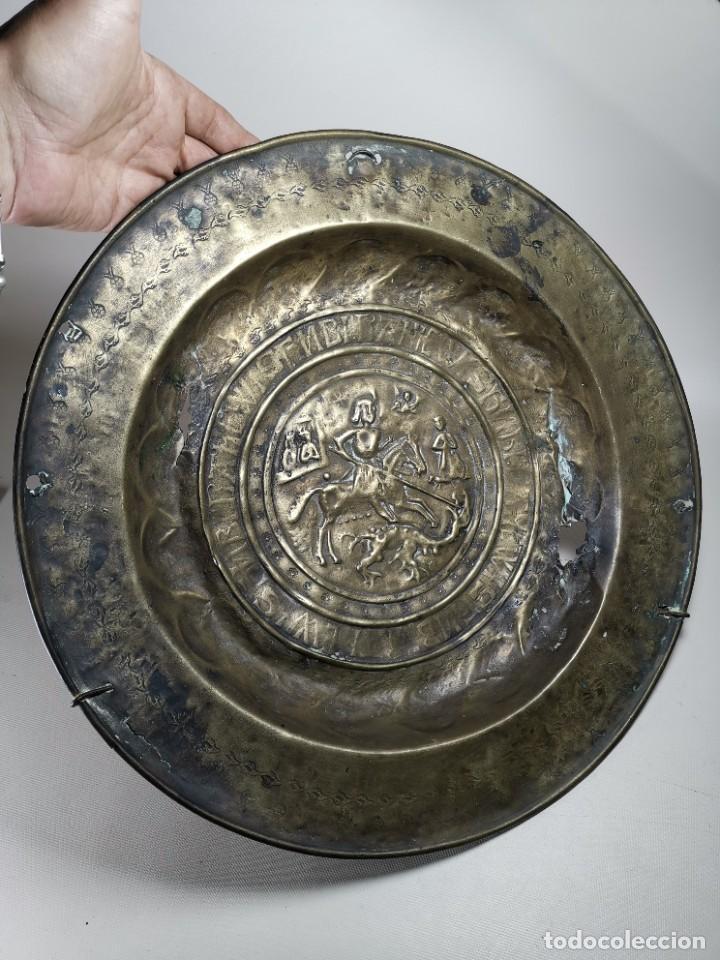 Antigüedades: ORIGINAL PLATO PETITORIO LIMOSNERO NUREMBERG SIGLO XVI--SAN JORGE---SANT JORDI - Foto 7 - 237740995
