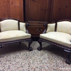 Antigüedades: 2 SILLONES CALZADORES CHIPPENDALE. Lote 237778920