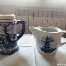 Antigüedades: JARRA Y LECHERA HOLANDA DELFT. Lote 237863630